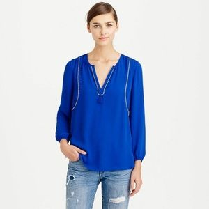 J. Crew Piped Long Sleeve Tassel Blouse
